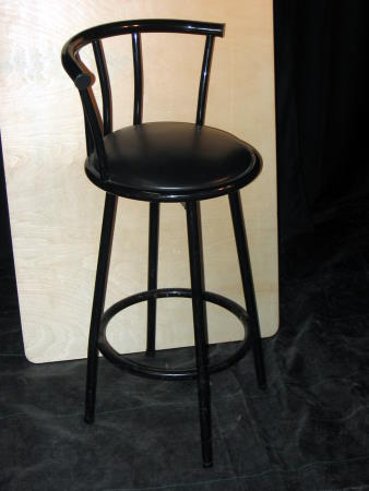 BAR STOOL - HIGH BACK - BLACK