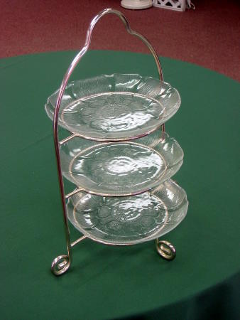 SILVER SERVING STAND - 3 TIER