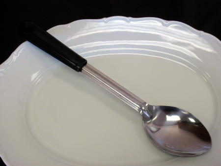 SPOON - SERVING-BLK HANDLE NO HOLES